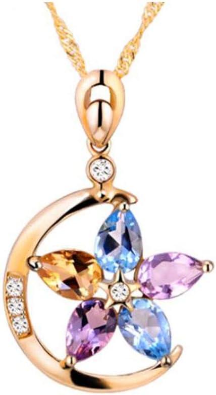 SHENGSHIHUIZHONG Collar, K Oro de Piedras Preciosas de Color con el Diamante de la Estrella de la Luna Colgante, joyería Simple Wild Style Moda clavícula Cadena Chica