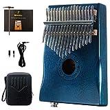 Moozica 17 Keys Mahogany Tone Wood EQ Kalimba, Electric Finger Thumb Piano Built-in Hi-Fi Pickup With 6.35mm Audio Interface(Dark Green)