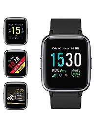 ZoeeTree Smartwatch Impermeable Reloj Inteligente Deportivo con Pulsómetro, 1.3inch Pantalla Completa Táctil Fitness Tracker, Mensajes y Notificación de Llamadas, Pulsera Inteligente para Deporte con Cronómetro, Podómetro