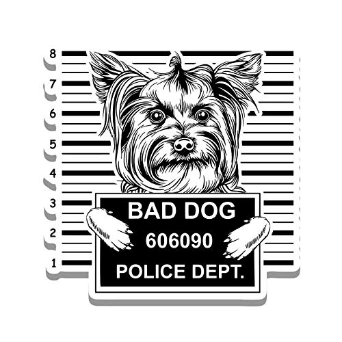 MKS0875 Bad Dog Yorkie Jail Funny Cute Vinyl Decal Sticker Car Truck Van SUV Window Wall Cup Laptop One 5.25 Inch Decal