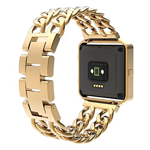 Fitbit Blaze Band Men and Women Gold Small Large, Lux Replacement Stainless Steel Bands Frame Fitbit Blaze - Gold ()