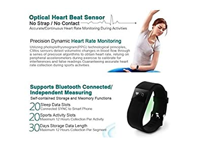 Wristband Heart Rate Monitor , Healthy Bracelet Watch Wristband Heart Rate Sport Gym Fitness Tracker Passometer WristWatch Phone Mate Supports Android 4.3 or Above IOS 7.0 or Above