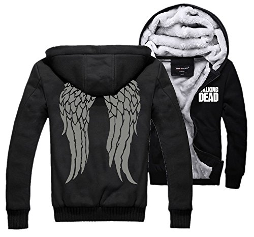 XCOSER Men's Winter Thick Hooded Sweatshirt Jacket with Wings Pattern Black XL