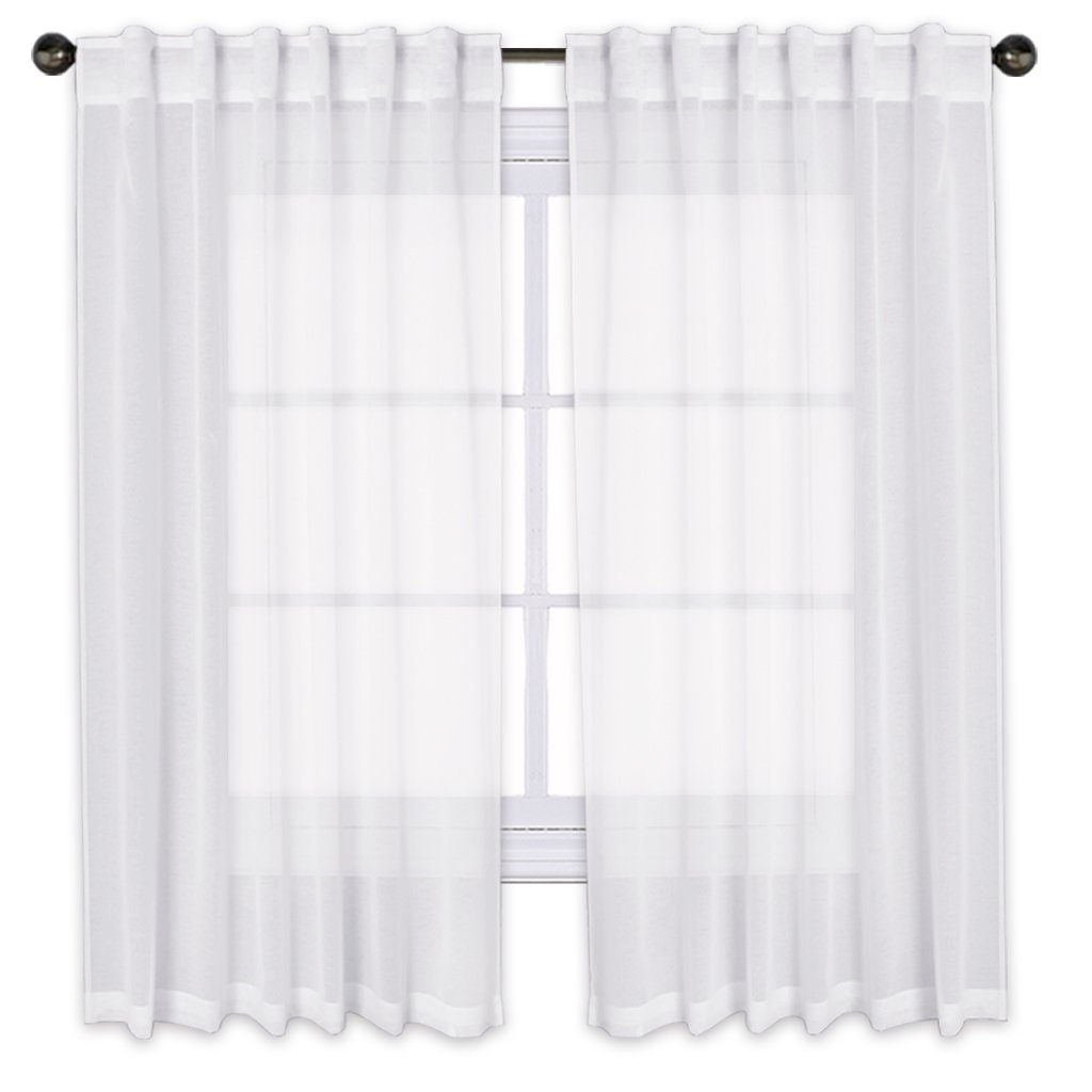 PONY DANCE Sheers Curtains 63'' - Rod Pocket & Back Tab Faux Linen Natural White Voile Drapes Semi-Sheer Gauze Drapes Window Curtains for Bedroom/Girl's Room, 55'' W x 63'' L, 2 Panels