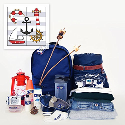 Personalized Trekker Package Waterproof Weatherproof Stick on Laundry Safe Includes Labels and Bag Tags for Babies Kids and Toddlers (Nautical Theme)