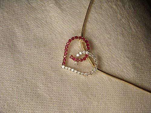 Fabulous Estate 14K Yellow Gold Ruby Rubies Diamond Heart Pendant - Gold Estate Pendant