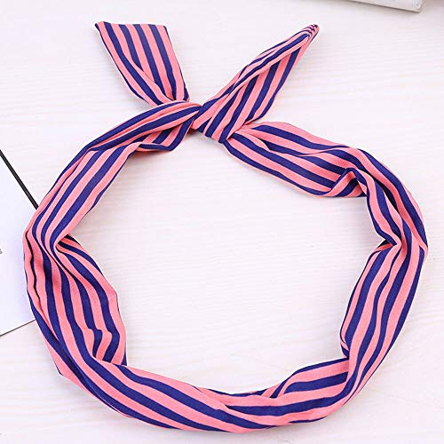 (Vintage Women Cute Bow Rabbit Bunny Ear Ribbon Hair Band Wire Headband Wrap Gift (Color - pink) )