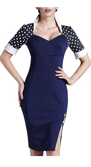 Homeyee - Vestido Tipo Lápiz De Manga Corta A Lunares Estilo Vintage Para Mujeres, B47 azul azul XXXL: Amazon.es: Ropa y accesorios
