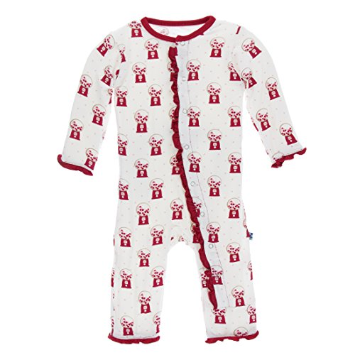 Kickee Pants Print Classic Layette Ruffle Coverall Natural Gumball Machine (6-9 Months) (Classic Coverall)