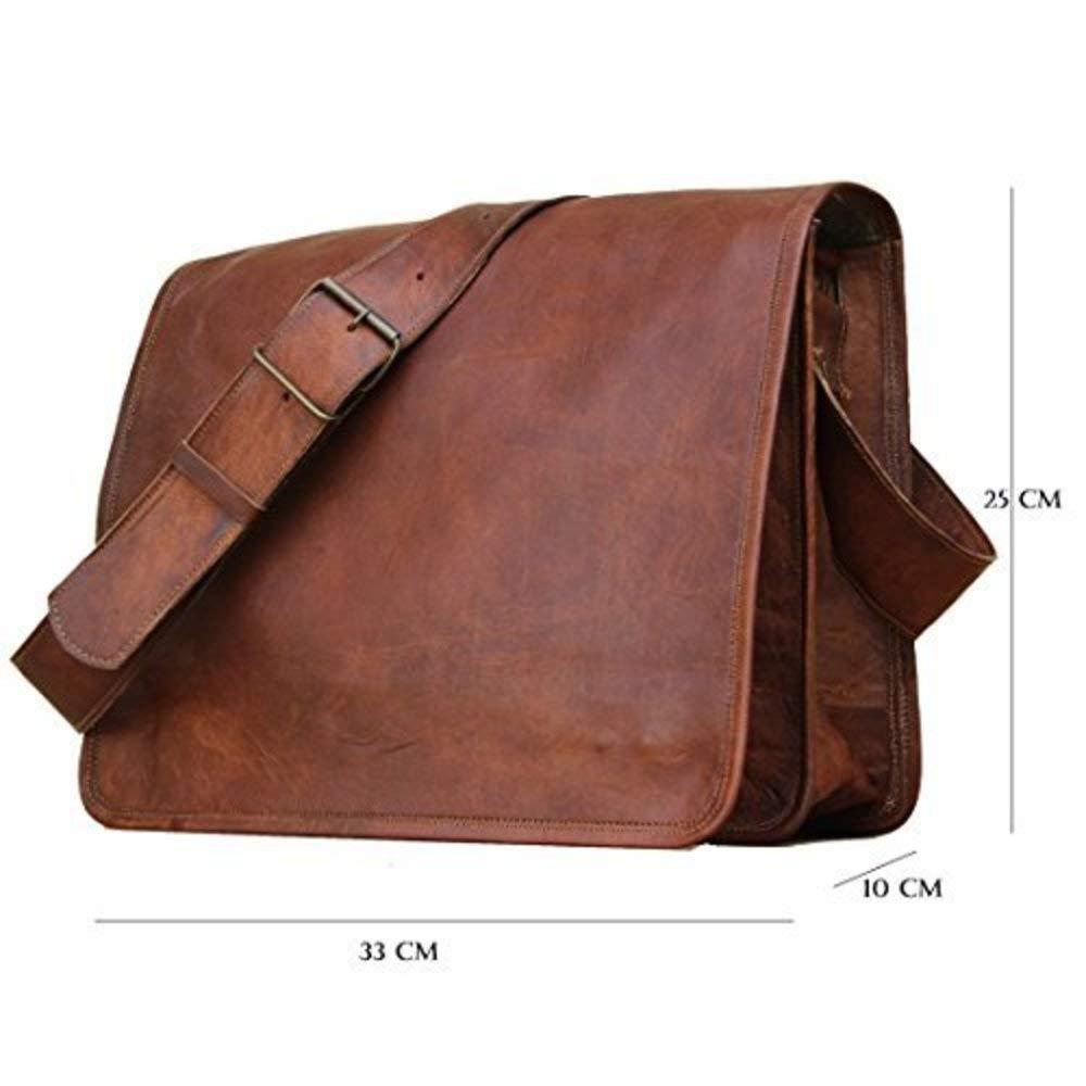 Messenger Bag Leather Vintage Full Flap Laptop Tablet Shoulder Brown Bag Fashionable Bag. (Dark Brown)