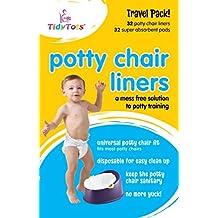 Tidy Tots Disposable Potty Chair Liners - Travel Pack XL - 32 Liners and 32 Super- Absorbent Pads // TidyTots – Sacs jetables pour pot pour bébé - Pack de voyage grand format - 32 sacs et 32 lingettes super-absorbantes