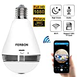 1080P WiFi Panoramic Bulb Camera, IP Security Surveillance System with IR Motion Detection, Night Vision, Two-Way Audio for Home