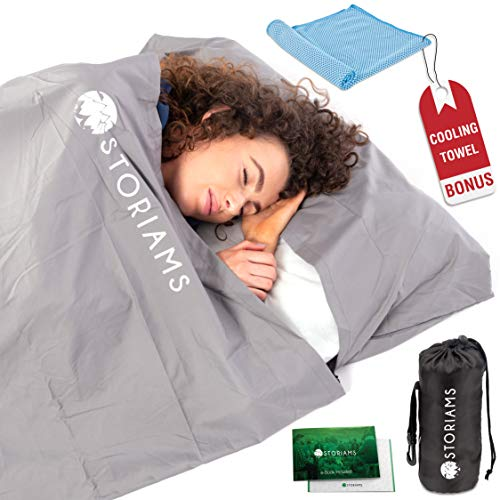 Storiams Sleeping Bag Liner Travel Sheet - Used as a Camping or Hotel Lightweight Sleeping Liner for Cold Weather has a Full Length Zipper with Lock Cooling Towel and Travel E-Book Included