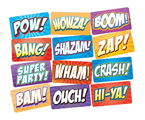 Superhero Party Photo Booth Props Signs 6pc Double