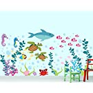 Aquarium Wall Decal - Under The Sea - Ocean Wall Decal - Fish Wall Decal
