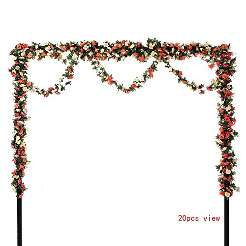 Felice Arts 5pcs Artificial Flowers 41FT Fake Plastic Fabric Silk Artificial Rose Flower Wisteria Ivy Hanging Vine Garland for Home Wedding Table Decoration- Champagne (Plastic Vine)