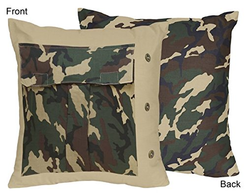 (Green Camo Decorative Accent Throw Pillow by Sweet Jojo Designs)