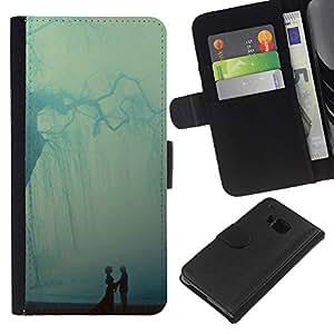 KingStore / Leather Etui en cuir / HTC One M7 / Pastel Árbol Ray Pareja Dulce