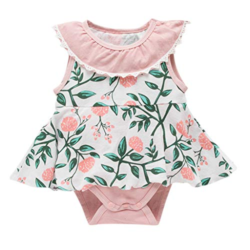 Baby Kids Girls Toddler Flower Print Sleeveless Romper Bodysuit Clothes Button Floral One Piece Costume Pink]()