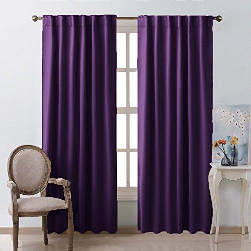 Bedroom Curtains Blackout Drapery Panels - (Royal Purple Color) W52' x L84', Double Panels, Window Treatment Blackout Drapery for Windows by NICETOWN