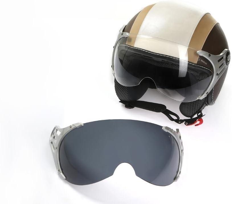Visier get/önt klarem Ersatzvisier Motorradhelm Jethelm Rollerhelm CMX Chap XL wei/ß mit Leder braun inkl