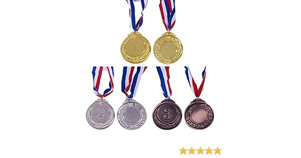 Onepine 6 medallas de premios de Oro y Plata de Bronce para ganadores de la Medalla de Primer Segundo Tercer Premio, medallas para campeones con Cinta de 45 cm: Amazon.es: Deportes y