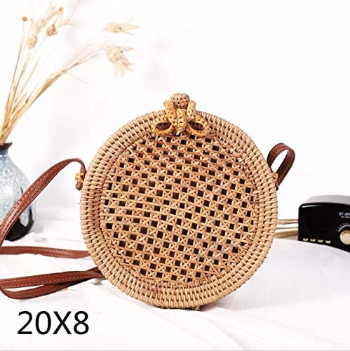 TATUE-Top-Handle Bags - Bali Island Hand Woven Bag Round Bag buckle Rattan Straw Bags Satchel Wind Bohemia Beach Circle Bag