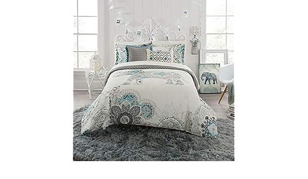 5b36e89ecc07 Amazon.com  Anthology Kiran Reversible Twin Comforter Set in White Grey   Home   Kitchen