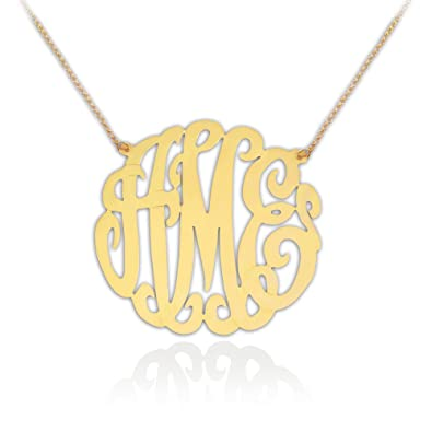 8c350dffb0efa7 Image Unavailable. Image not available for. Color: Monogram Necklace - 1.75  inch Sterling Silver 24k Gold Plated - Handcrafted Designer - Personalized  ...