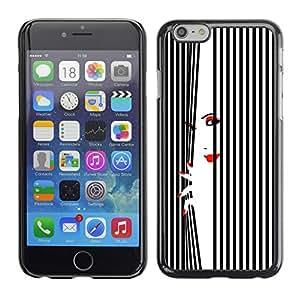 Cubierta de la caja de protección la piel dura para el Apple iPhone 6 (4.7) - woman lips nails red white black