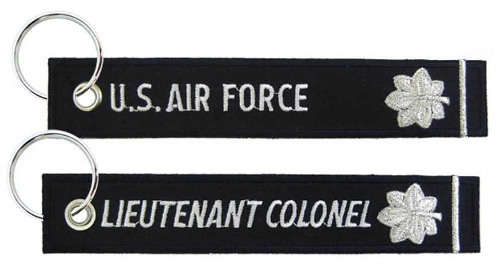 Eagle Crest U.S. Air Force Lieutenant Colonel Black Embroidered Key Chain