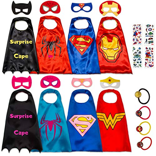 8 Superhero Capes for Kids - Super Hero Toys & Costumes Birthday Party Supplies (8 Pack -