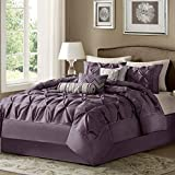 hampton house - Ashton Plum House of Hampton Elegant Stylish Premium Quality 7 Piece Queen Size Comforter Set, 1 comforter, 2 shams, 1 bed skirt, 3 decorative pillows