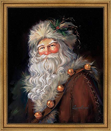 Father Christmas by Susan Comish Framed Art Print Wall Picture, Wide Gold Frame, 28 x 33 inches