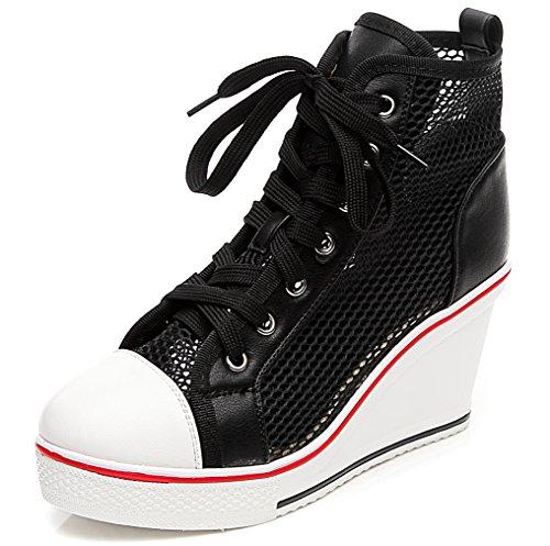 Solshine Damen Atmungsaktive Netz Sommerschuhe Plateau Wedge Sneakers Keilabsatz Hoher Absatz Größe 35-43 Schwarz