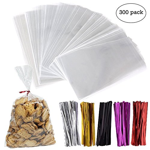 300 Pack Clear Treat Bags Cellophane Bags with 300 4'' Twist Ties in 5 Mix Colors PP Plastic Bags Gift Wrapping - for Cookies Bags, Candy Bags, Chocolate Bags, Jelly Bags, Bakery Bags(6'' x 10'') by Devbor
