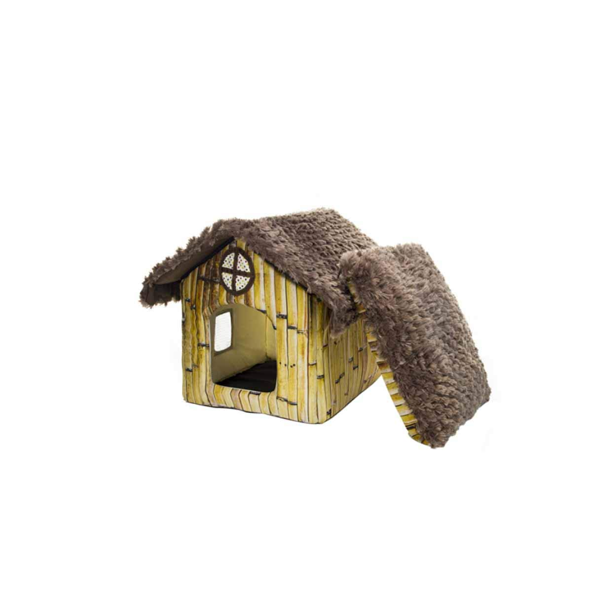 Cat Nest, Pet Catnest, Cat House, Cashmere Mat, Winter Warm Cat Bed House, Tent, Kennel, Cat Bed, Thatched House (color   Bamboo Huts)