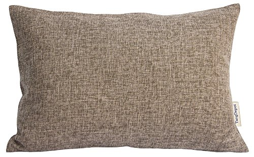 Toss Pillow Rectangle Decorative (TangDepot Heavy Lined Linen Cushion Cover, Throw Pillow Cover, Rectangle pillow covers, Decorative Cushion Cover Pillowcase - (12