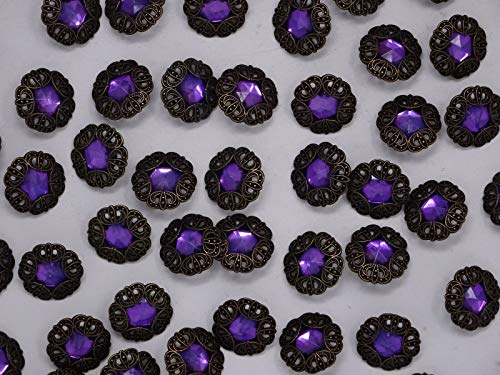 JumpingLight Vintage Purple Rhinestone w/Crown Border Shank Buttons 21mm Lot of 3 B120-11 Perfect for Crafts, Scrap-Booking, Jewelry, Projects, Quilts
