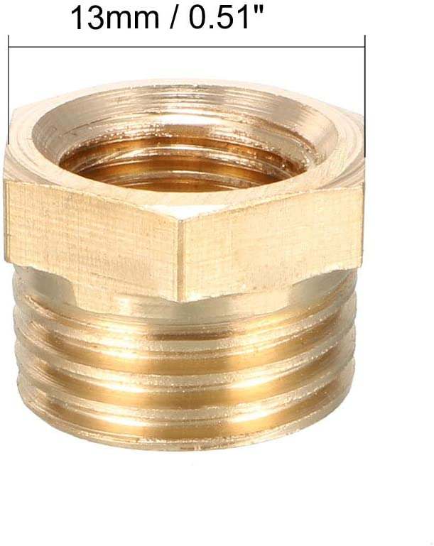 uxcell Brass Threaded Pipe Fitting G1//4 Male X 1//8 PT Female Hex Bushing Adapter 2pcs