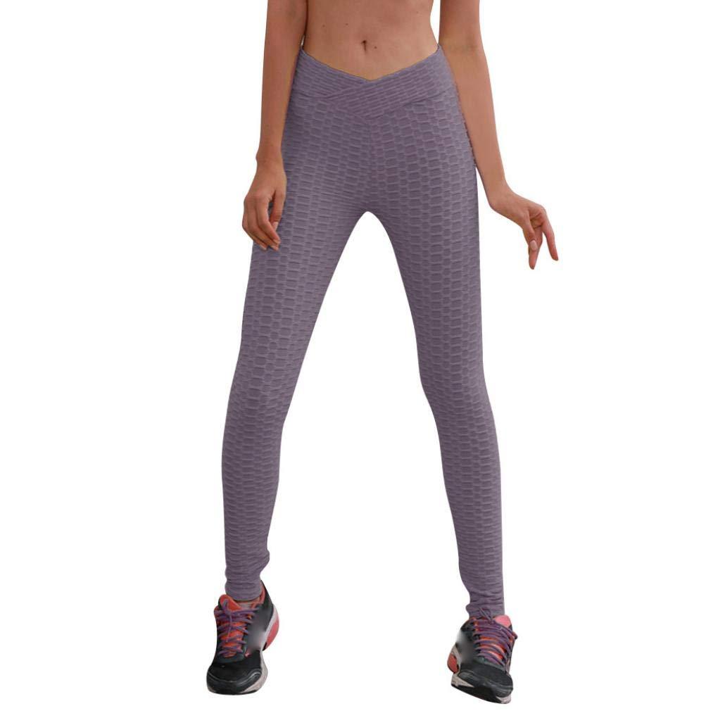 scaling❀Leggings Women Yoga High Waist Yoga Fitness Leggings Mountaineering Running Stretch Sports Pants Trouser Breathable (Gray, S)
