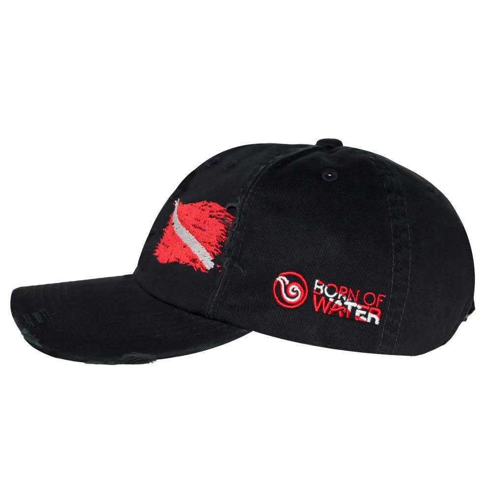 Amazon.com: Born of Water Scuba Diving Ripped Flag Distressed Hat: Freedive | Diver | Spearfishing Black: Sports & Outdoors