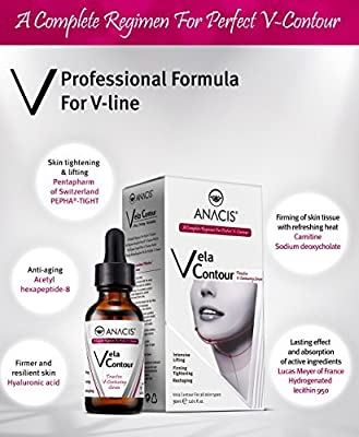 Neck Firming and Tightening, Lifting V line Serum, Chin contouring, Reduce Appearance of Double Chin, Loose and Sagging Skin. Vela Contour 30 Ml