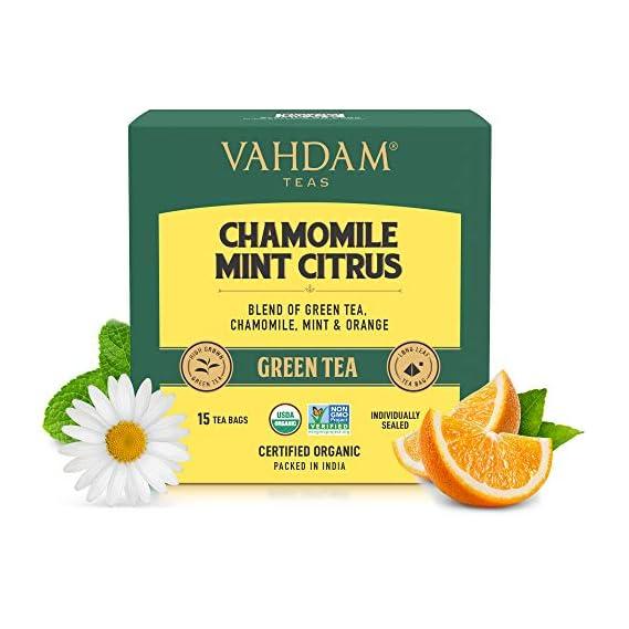 VAHDAM - Chamomile Green Tea with Mint & Citrus | 15 Chamomile Green Tea Bags | USDA Certified Organic Chamomile Tea