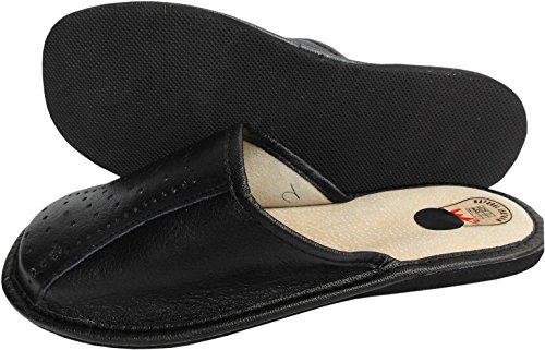 Hausschuhe - Latschen - Pantoffeln Gr.40, 41, 42, 43, 44, 45,46, Echt LEDER, SCHWARZ(Made in Poland 17-6-2-71)