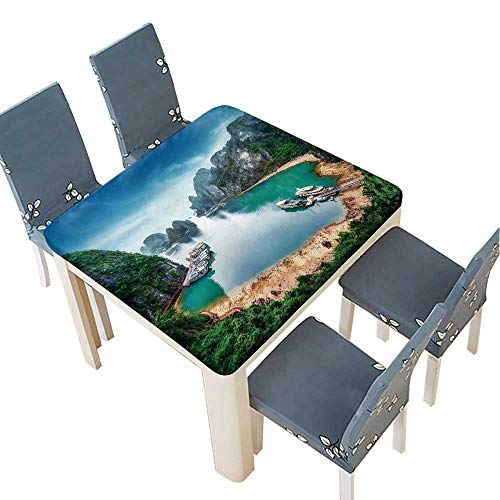 PINAFORE Fitted Polyester Tablecloth Tourist junks Floating Among Limestone Rocks at Ha Long Bay,South China Sea,Vietnam Washable for Tablecloth 49 x 49 INCH (Elastic Edge) (Rattan Sea Rattan South Table)