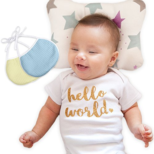 Baby Pillow | Head Shaping Newborn Pillow for Sleeping | Breathable Flat Head Baby Pillow to Prevent Flat Head Syndrome + Infants Pillow Baby Shower Gift - 2 Baby Bibs and Bonus Ebook