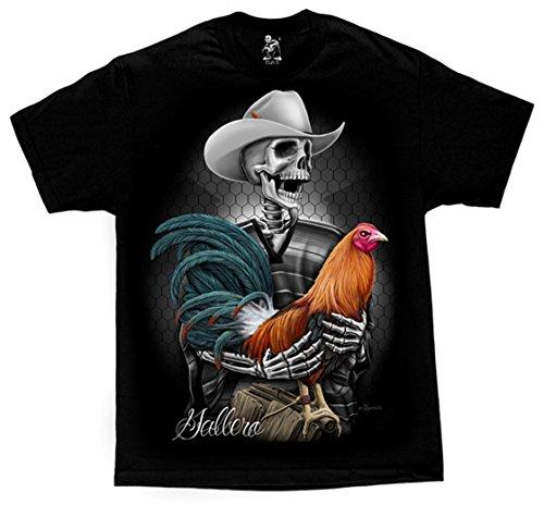 David Gonzales Men's Gallero Rooster Skelleton Rancher DGA Art T Shirt XX-Large - Black T-shirt Art