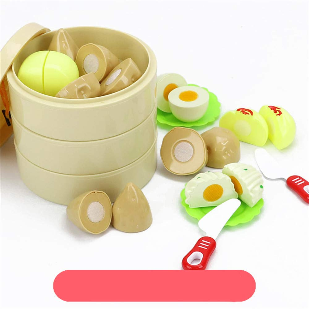 Viesbroty-toy Kids Interesting Interactive Toys Children Cut Fruit Toys Play Kitchen Combination Vegetables Cut Baby Boys and Girls and Steamed Stuffed Bun Suit Educational Toys (Color : A)