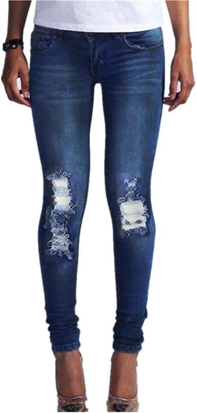 Pantalon Con Orificios Para Pantalones Rotos Mujeres Vaqueros Modernas Casual En Las Rodillas Pantalones Vaqueros De Cintura Alta Pantalones Jeans Pantalones Con Raja Rodilla Pantalones Destruidos Amazon Es Ropa Y Accesorios